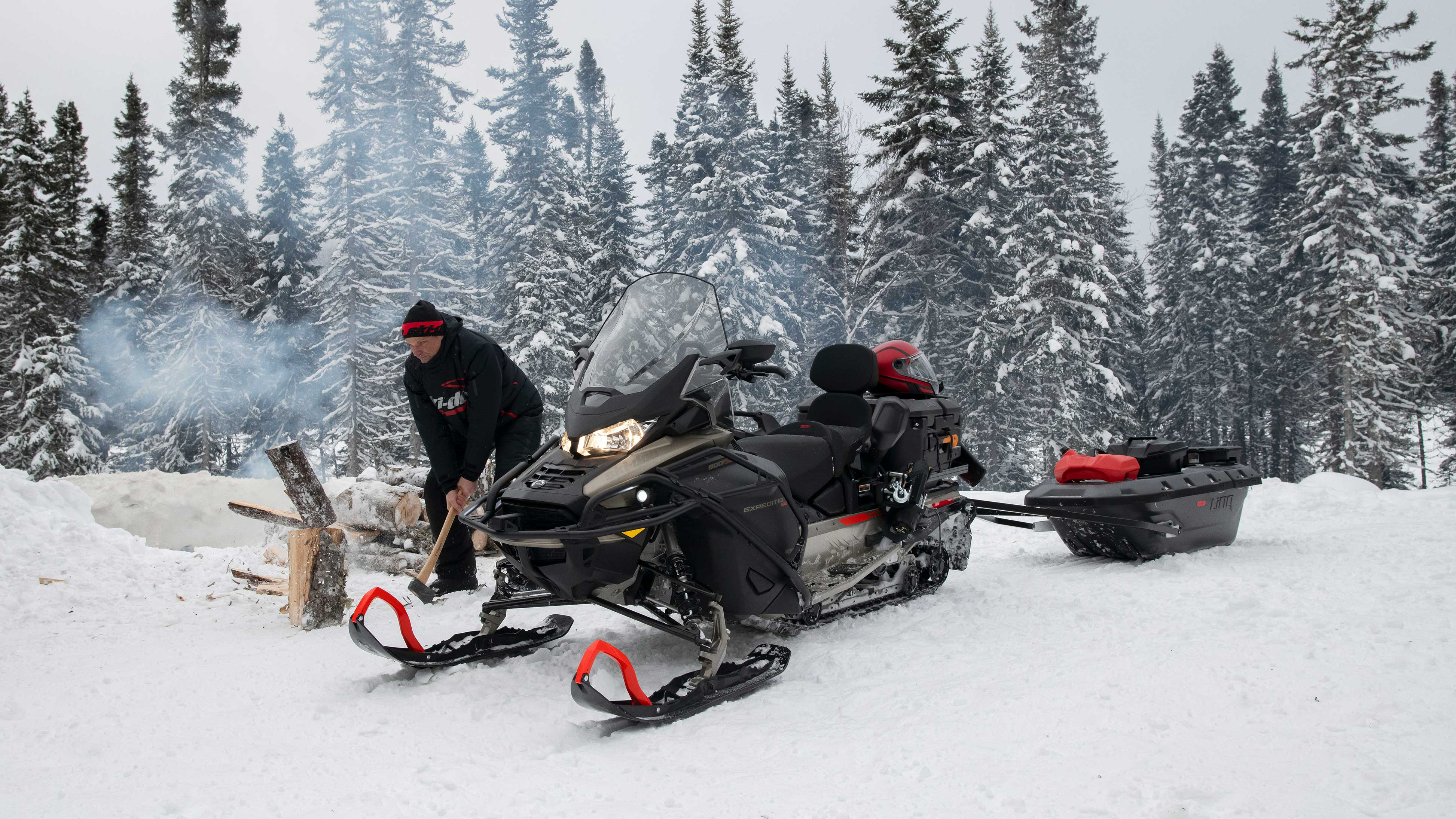 Man working with his Ski-Doo Expedition
