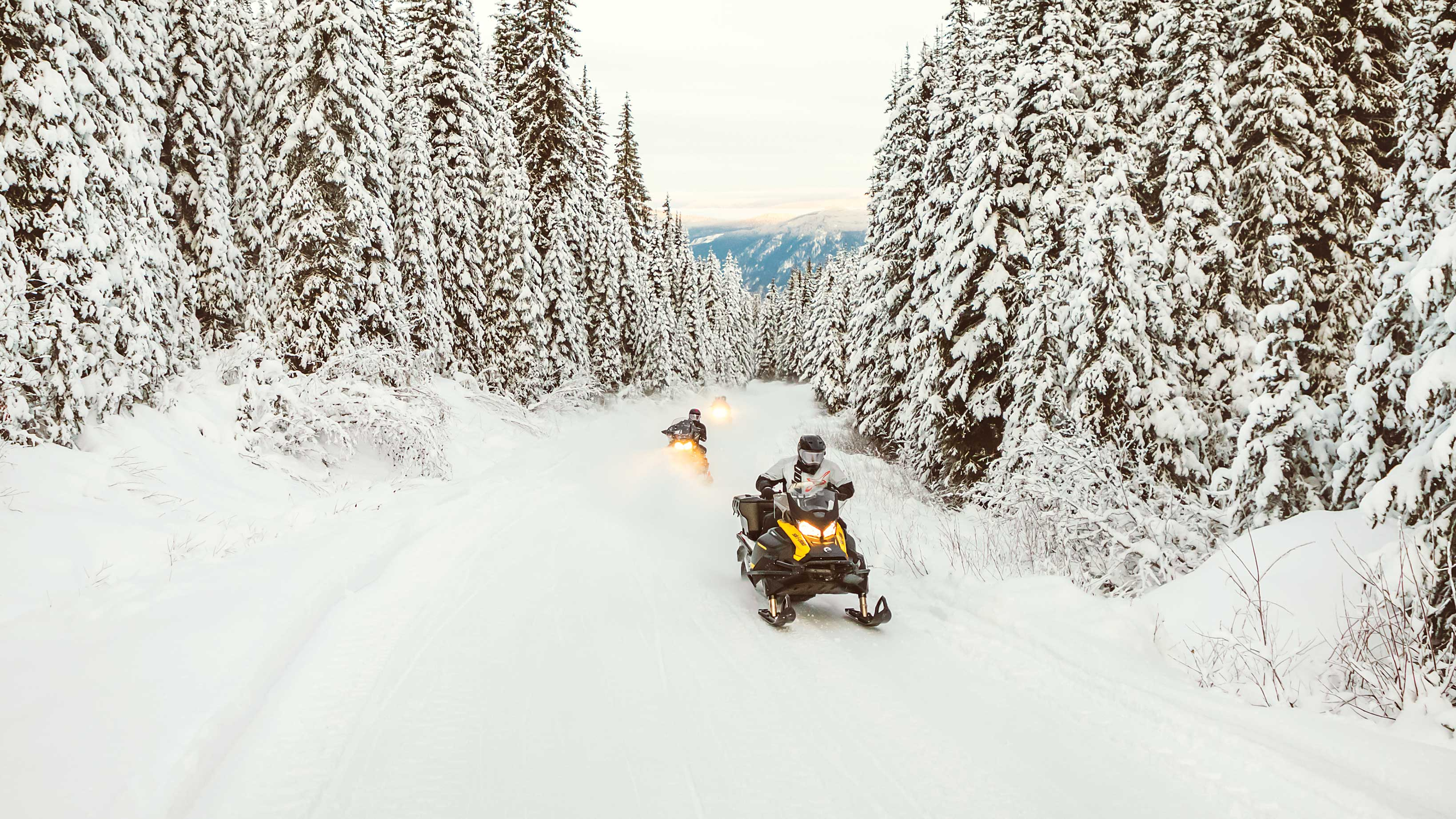 Two Ski-Doo Tundra riding fast on a snow trail
