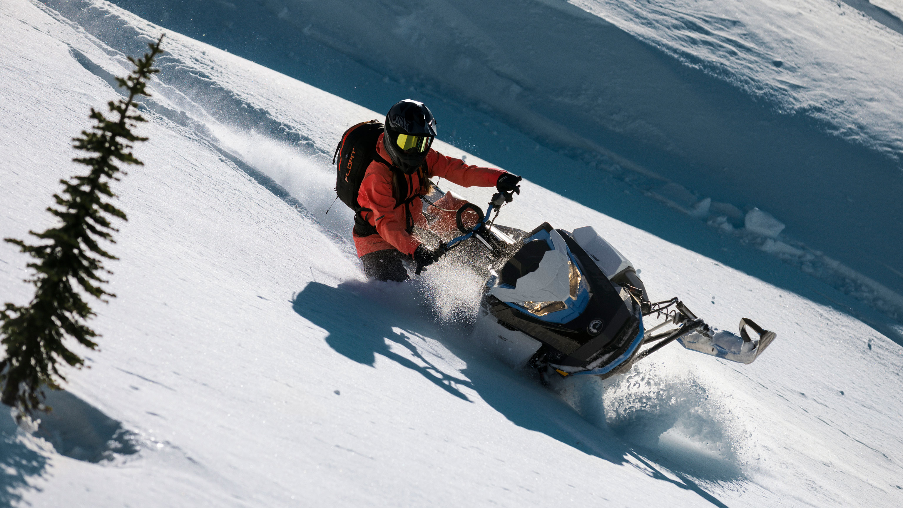 2022 Ski-Doo Summit carving in deep-snow