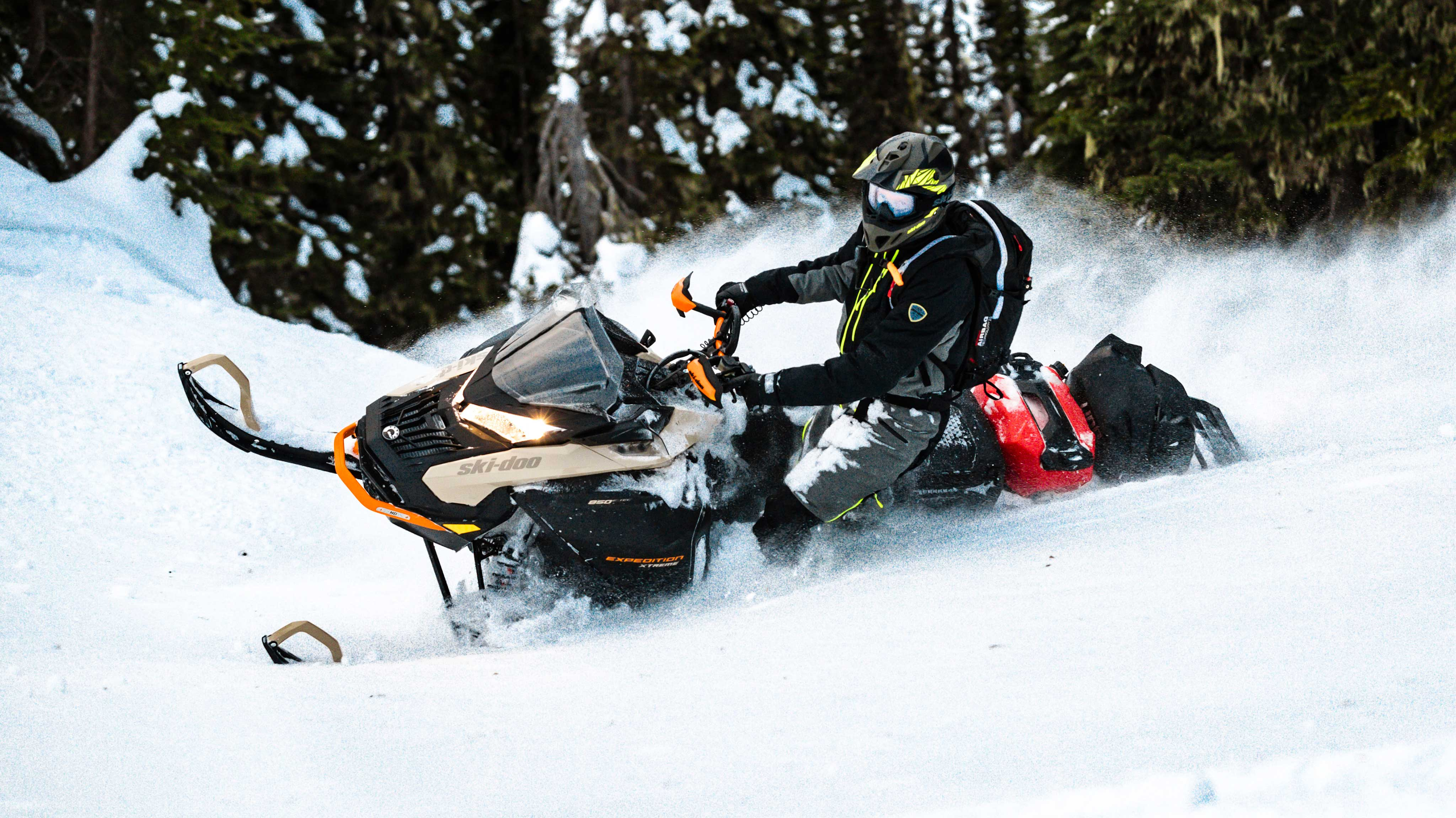 2022 Ski-Doo Expedition carving in deep-snow