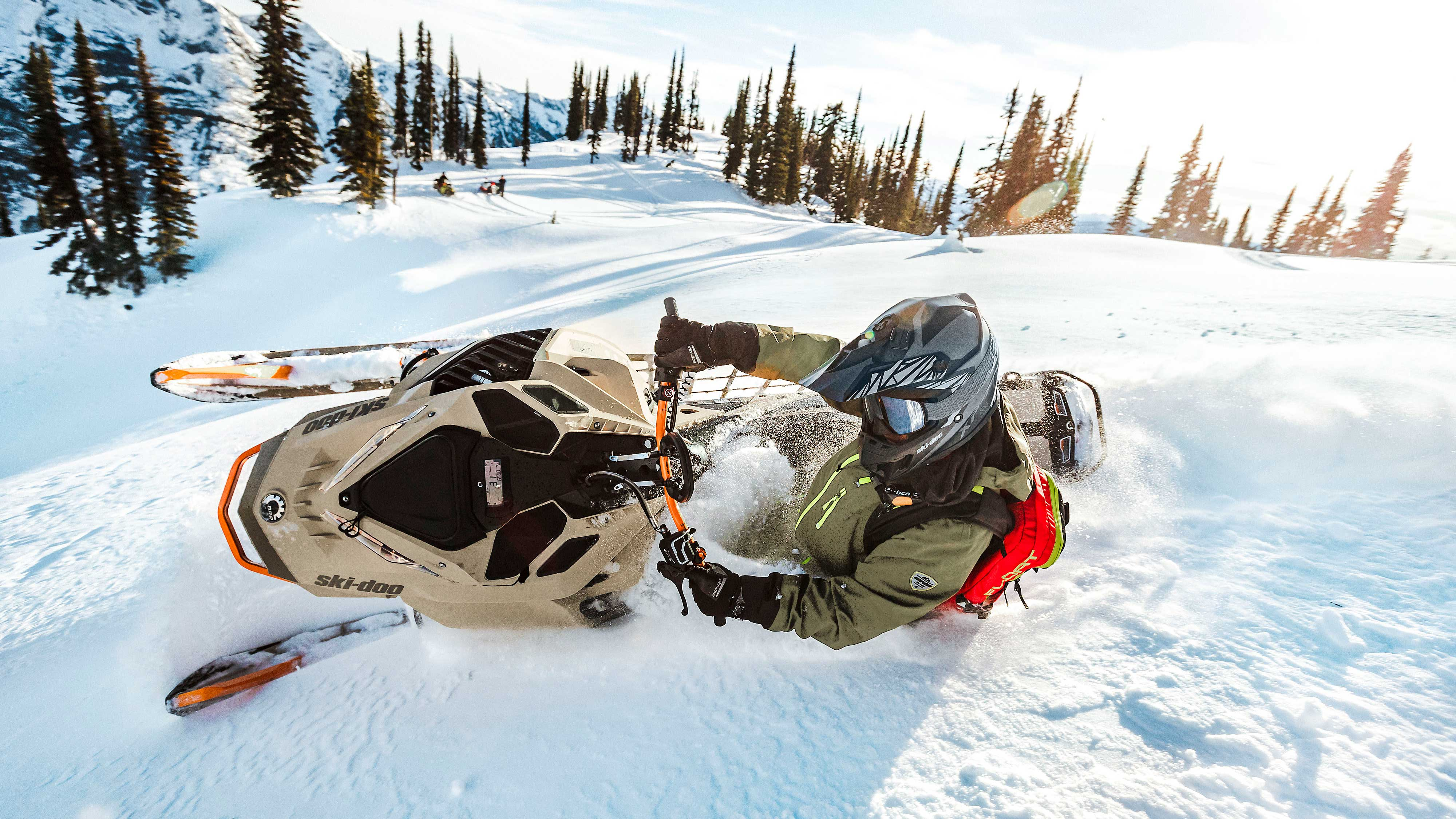 Rider enjoying deep powder with his Ski-Doo Freeride
